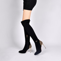 winter autumn over the knee boots stilettos pointed toe big size 41 sexy party shoes ladies black suede crystal heels boots woman