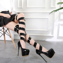 summer high heels 16cm stilettos round toe gladiator over the knee summer boots platform woman evening party ladies sandals