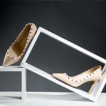Arden Furtado spring autumn fashion high heels 9cm stilettos elegant rivets genuine leather party shoes ladies black white office lady