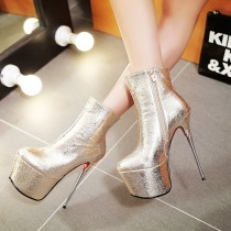 platform ankle boots stilettos round toe high heels 16cm red gold silver night club shoes woman ladies