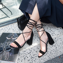 ankle strappy black pink suede chunky heels cross tied fashion sandals shoes for woman