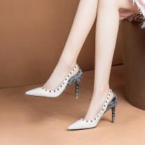 Arden Furtado 2018 summer autumn fashion high heels 9cm stilettos sexy rivets party shoes ladies black white genuine leather