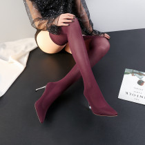 2018 spring autumn slip on over the knee boots burgundy Stretch boots big size 40-43 small size 31-33