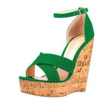 2018 summer high heels 15cm platform peep toe cork heels green red wedges sandals casual shoes woman
