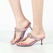 Arden Furtado Summer Women's Shoes slippers stilettos heels 5cm crystal rhinestone large size flip flops