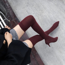 burgundy over ther knee boots stilettos heels 7cm Stretch boots fashion shoes woman