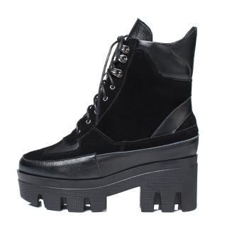 Arden Furtado  spring autumn  platform round toe ankle boots chunky heels cross ties matin boots