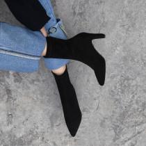 2018 autumn winter zipper ankle boots chunky heels black zipper grey  Stretch boots