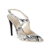Big size mules slippers snakeskin slides pointed toe high heels 12cm stilettos fashion shoes woman ladies