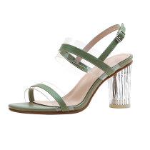genuine leather fashion  summer high heels Crystal Heel chunky heels