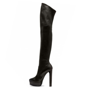 Spring autumn slip on platform Over the knee boots black Thigh high boots round toe chunky heels Stretch boots