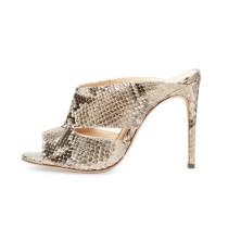 Summer high heels 11cm stilettos peep toe mules serpentine slippers woman slides