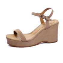 Arden Furtado 2018 summer high heels 9cm platform peep toe wedges sandals