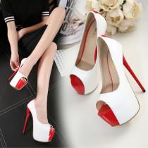 2018 spring autumn summer peep toe white extreme high heels 16cm platform stilettos evening party shoes ladies