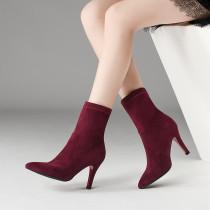 2018 autumn winter Stretch boots ankle boots burgundy stilettos high heels 9cm