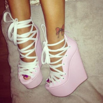 pink wedges heels high heels 14cm platform fashion rome sandals ankle strappy peep toe casual shoes woman