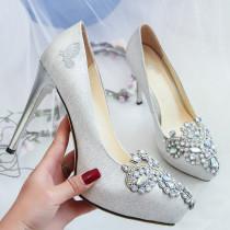 Arden Furtado autumn stilettos platform crystal rhinestone silver wedding shoes size 33high heels 11cm round toe bridesmaid shoes