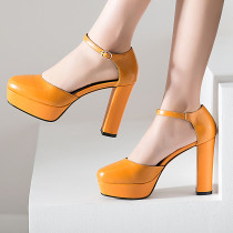 platform high heels chunky heels round toe buckle strap genuine leather ankle strap white yellow closed toe sandals