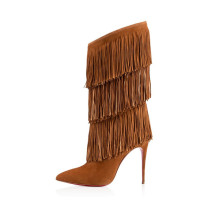 women's shoes tassels pointed toe stilettos high heels 12cm Fringes brown suede mid-calf boots big size