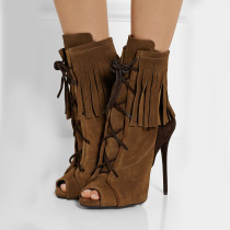 summer boots autumn Grey Lace up Boots peep Toe Fringes Ankle Booties with tassels