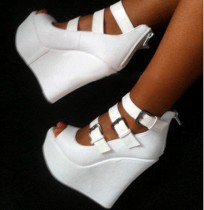 summer wedges high heels 14cm white patform peep toe buckle strap sandals woman's shoes