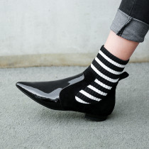autumn winter flat genuine leather slip on socks boots Striped stretch boots fashion pointed toe matin boots