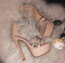 platform high heels 12cm black chunky heels platform crystal rhinestone sexy evening party shoes