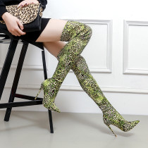 over the knee Leopard female booties Stretch boots green fashion sexy high heels stilettos thigh boots woman ladies women's shoes