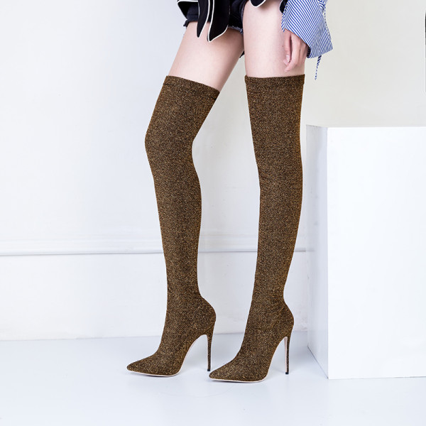 2018 spring new style stretch boots gitter cloth over the knee boots shoes for woman fashion shoes big size