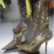 Stretch boots mid calf boots stilettos high heels 10cm dollar gold sequins glitter women's boots big size
