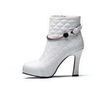 women's shoes metal decoration autumn genuine leather white round toe platform chunky heels zipper Rhombus grid ankle boots size 40