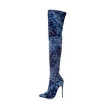 zipper over the knee boots stilettos blue jeans denim high heels 12cm fashion thigh high boots big size female shoes ladies