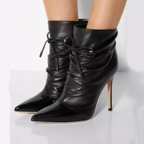 Pleated stilettos ankle boots high heels stilettos fashion pointed toe booties women's shoes big size