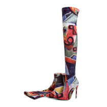 over the knee boots stilettos fashion shoes woman high heels 12cm flowers thigh high Stretch long boots