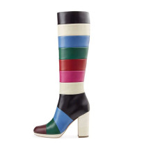 2018 winter fashion rainbow under knee high boots chunky heels striped boots cheap women's shoes
