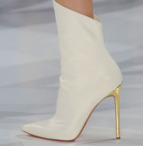 2018 autumn winter high heels white ankle boots stilettos pointed toe women's shoes