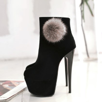 stilettos high Heels 16cm red black suede fur ball ankle boots round toe platform women's shoes small size 30 31