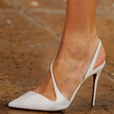 2018 summer high heels 12cm pointed toe sling back white sandals shoes for woman ladies