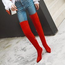 Arden Furtado 2018 Leopard red over the knee stilettos boots fashion women's shoes high heels 8cm Stretch boots small size 32 33