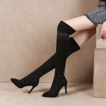 2018 winter fashion slip on crystal over the knee high boots stilettos heels Stretch boots cheap women's shoes