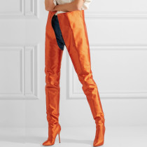 Jumpsuits boots stilettos satin cloth over the knee thigh high long boots orange blue red green pink fashion women's shoes big size