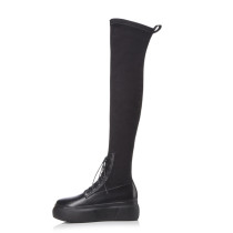 Arden Furtado 2018 spring autumn cross tied round toe zipper over the knee high boots