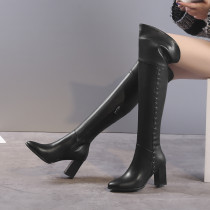Arden Furtado spring autumn winter back zipper full leather shoes ladies chunky heels over the knee boots