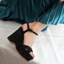Arden Furtado 2018 summer wedges sandals casual shoes woman platform peep toe black suede women's shoes