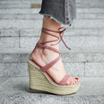2018 summer high heels 12cm platform peep toe ankle strappy cork wedges sandals casual shoes woman
