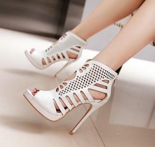 women's shoes2018 summer boots platform fretwork white black peep toe back zipper cage sandals size 50
