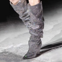2018 autumn winter fashion cone heels high heels silver sequined cloth knee high boots sexy women's shoes