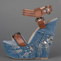 wedges sandals platform blue jeans denim open toe buckle shoes women's ladies high heels 15cm