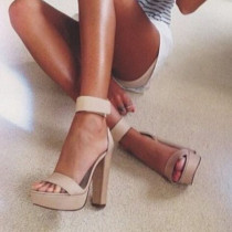 2018 summer high heels 15cm chunky heels open toe women's shoes platform sandals big size 45 pink sandals