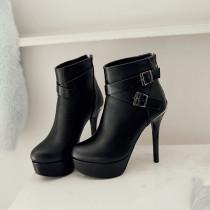 Arden Furtado autumn winter platform high heels 12cm stilettos round toe platform stilettos buckle ankle boots women's shoes ne